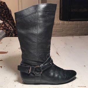 GIANNI BINI Blk mid calf leather boots/6.5